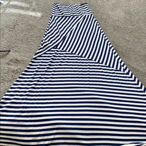 Blue and white stripe maxi skirt